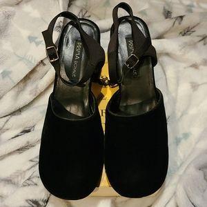 10-11 Amazing 90s vintage velvet chunky heel shoes